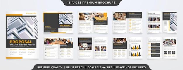 ミニマリストスタイルとビジネスプレゼンテーションや提案のためのすっきりとしたレイアウトコンセプトの使用でa4二つ折りパンフレットテンプレートデザインのセット Premiumベクター