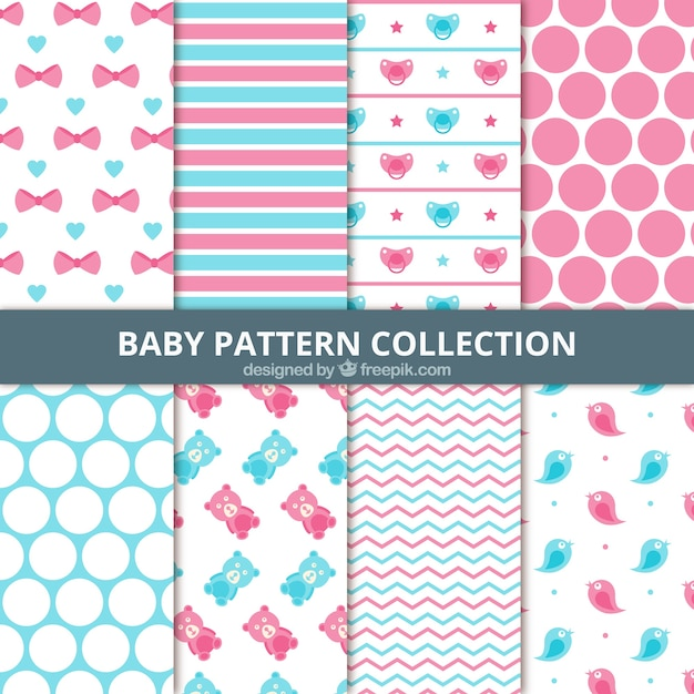 Set Of Abstract Baby Patterns Vector Free Download Extraordinary Baby Patterns