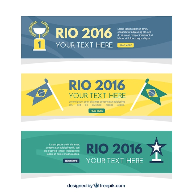 Set of abstract brazil 2016 banners