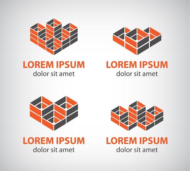 抽象的なカラフルな幾何学的な立方体のロゴのセット Premiumベクター