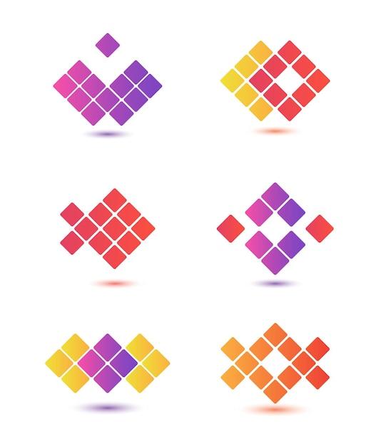 分離された抽象的なカラフルなロゴのセット Premiumベクター