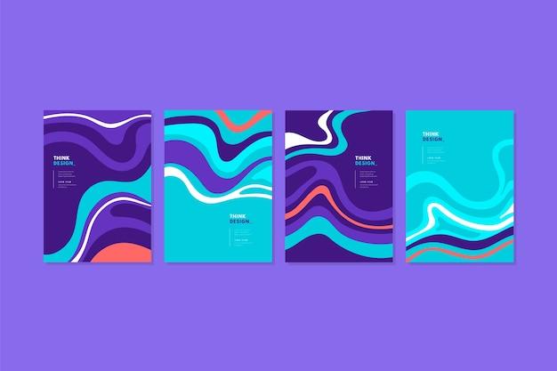 Набор абстрактных красочных обложек Бесплатные векторы