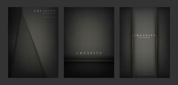 黒で抽象的な創造的な背景のデザインのセット 無料ベクター