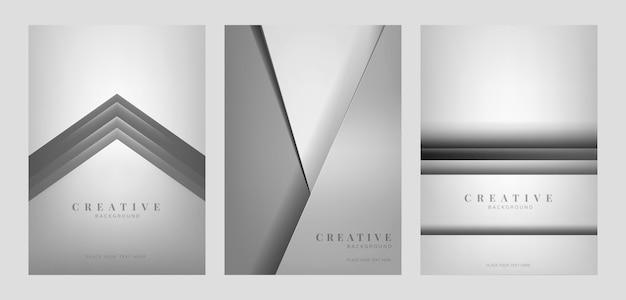 밝은 회색에서 추상 창조적 인 배경 디자인의 세트 무료 벡터