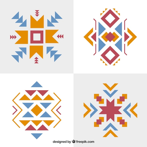 Set of abstract ethnic forms Free Vector