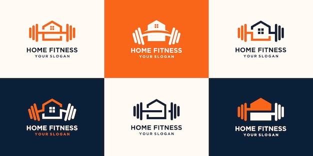 추상적 인 피트 니스 홈 로고의 집합입니다. Kettlebell 결합 덤벨 및 하트 로고 디자인 프리미엄 벡터
