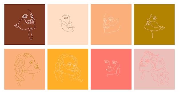 한 선 스타일에 추상 여자 초상화의 집합입니다. 프리미엄 벡터
