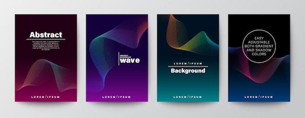 Набор абстрактных градиента красочные волны формы на темном фоне. Premium векторы