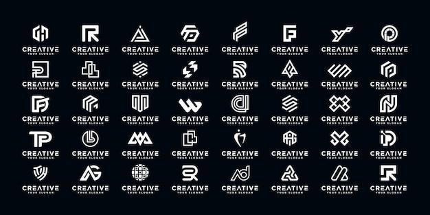抽象的な初期az.monogramロゴデザイン、高級、エレガント、ランダムのビジネスのためのアイコンのセット。 Premiumベクター