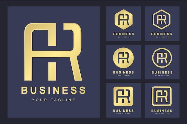 抽象的な頭文字ar、ゴールデンロゴテンプレートのセット。ロゴ。 Premiumベクター