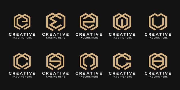 抽象的な頭文字m、e、c、s、ロゴテンプレートのセット。ファッション、コンサルティング、建築、シンプルのビジネスのためのアイコン。 Premiumベクター