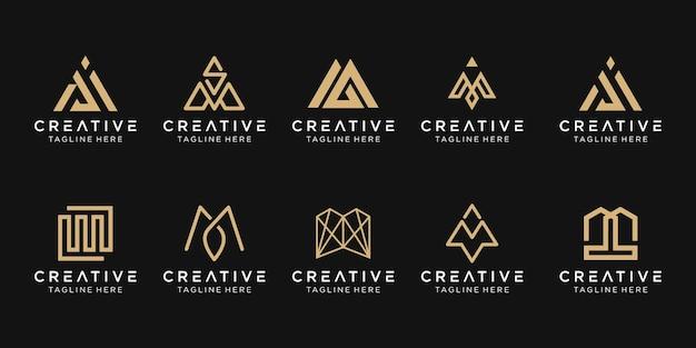 Набор абстрактных букв m логотип шаблон. Premium векторы
