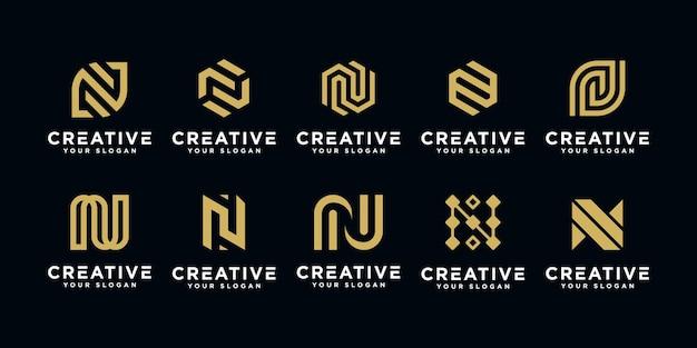 抽象的な頭文字nロゴデザインテンプレートのセットです。 Premiumベクター