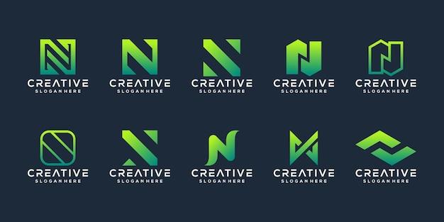 抽象的な頭文字nロゴテンプレートのセット Premiumベクター
