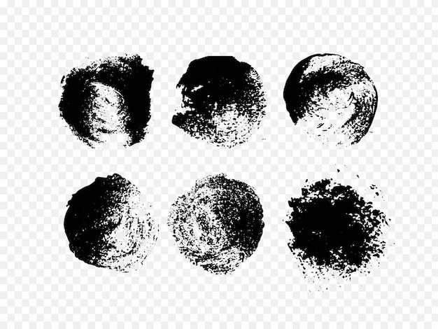 Набор абстрактных чернил. ручной обращается гранж черный круг. Premium векторы