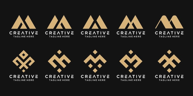 Набор абстрактных букв m логотип шаблон Premium векторы