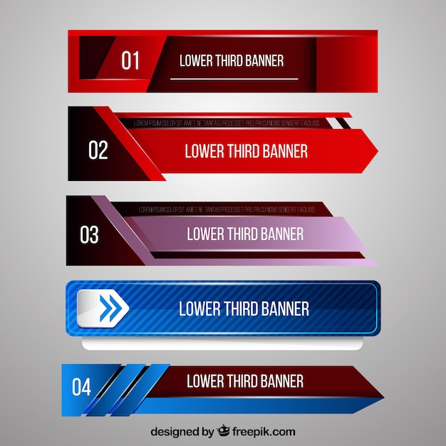 Set of abstract modern banners for television