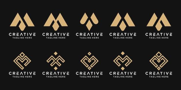 Набор абстрактных монограмм начальный шаблон логотипа m. Premium векторы