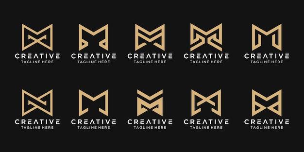 抽象的なモノグラム文字mロゴテンプレートのセットです。ファッション、建物、シンプルなビジネスのためのアイコン。 Premiumベクター