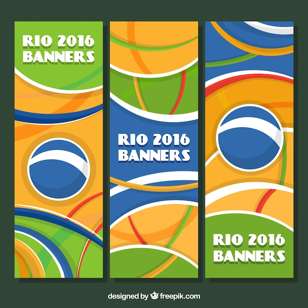 Set of abstract rio 2016 banners with shapes