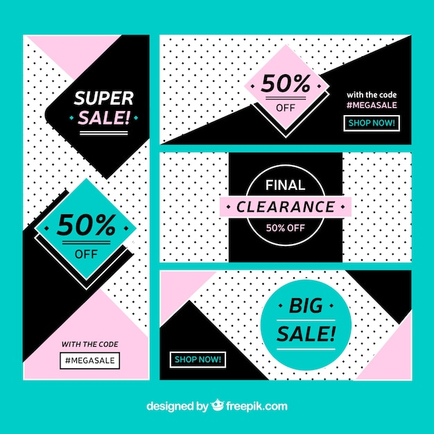 Set of abstract sale banners