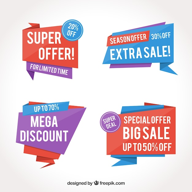 Set of abstract sale stickers