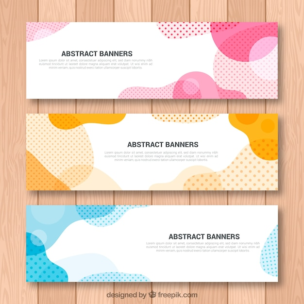 Set of abstract shapes banners Free Vector