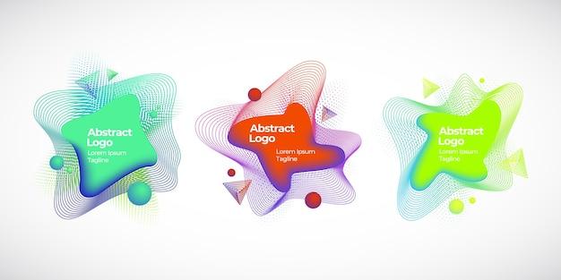 Набор абстрактных векторных геометрических жидких баннеров, эмблем или логотипов Бесплатные векторы