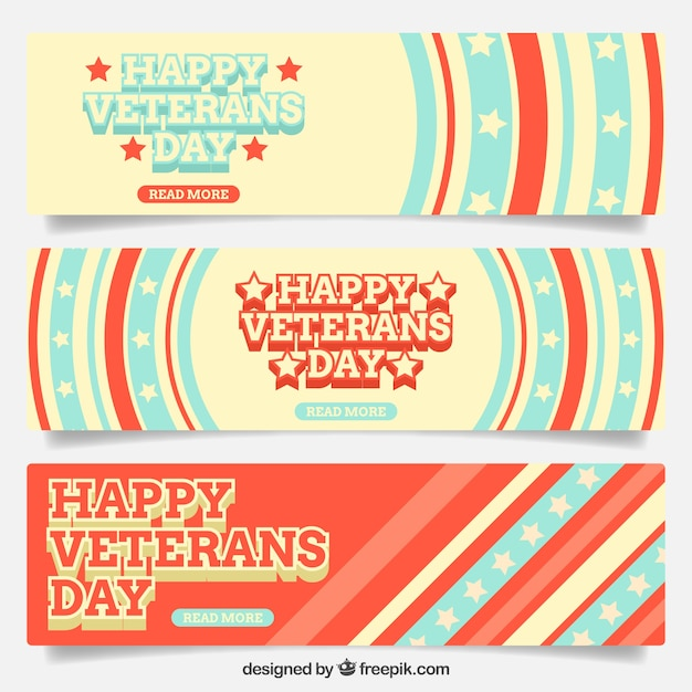 Set of abstract veterans day banners