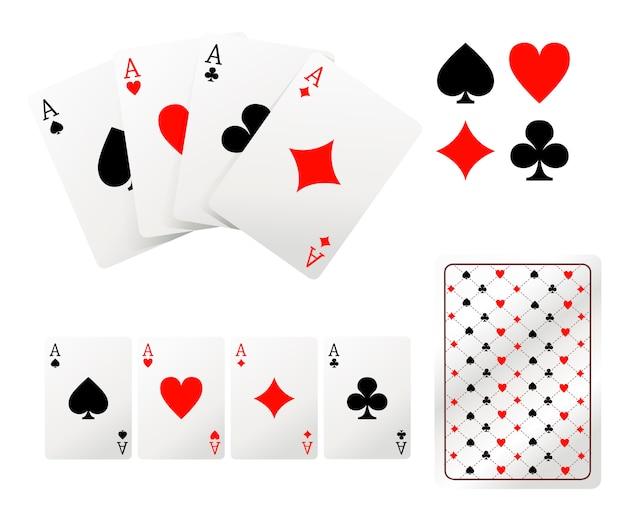 Набор игральных карт туз. оборотная сторона. иллюстрация на белом фоне. страница веб-сайта и мобильное приложение. Premium векторы