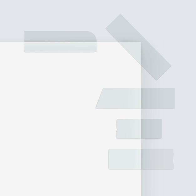 접착 마스킹 종이 스티커 스카치 스트립 테이프 흰색 절연의 집합 프리미엄 벡터