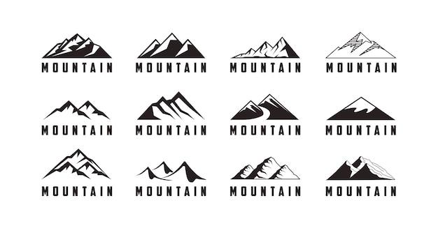 Набор приключенческого логотипа со значком горы Premium векторы