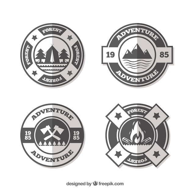 Set of adventure logos in flat style