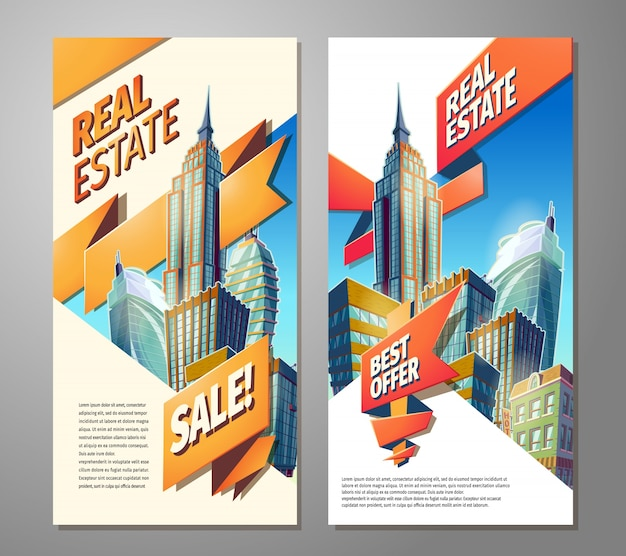 Set Of Advertising Posters For Sale Of Real Estate Vector