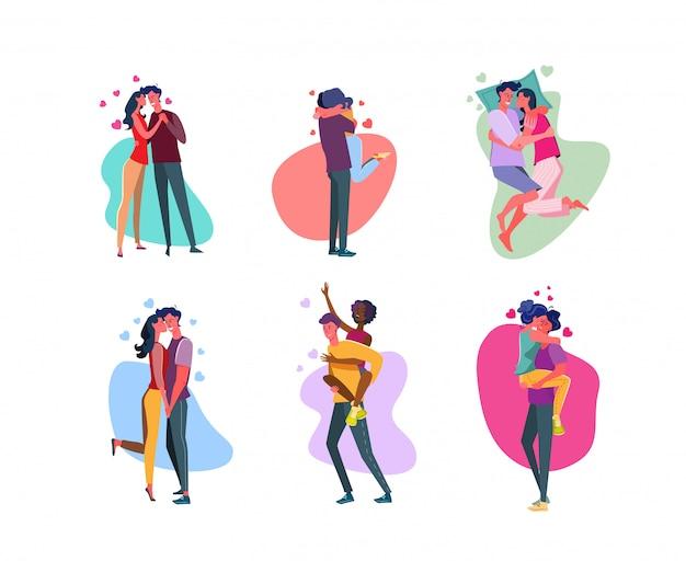 Набор ласковых пар, обнимающихся в любви Бесплатные векторы
