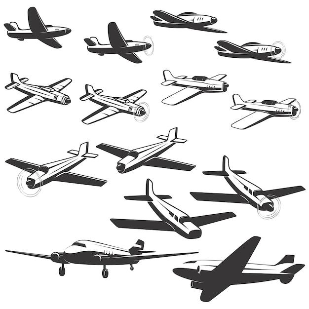 白い背景の上の航空機のアイコンのセットです。 、エンブレム、記号の要素。図。 Premiumベクター