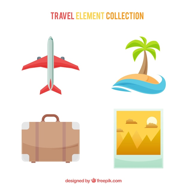 Set of airplane and other summer travel\ elements