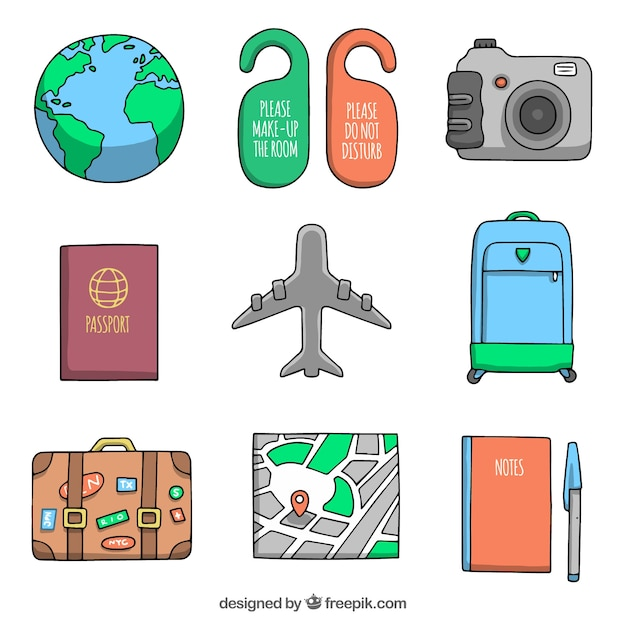 Set of airplane with other hand drawn travel\ elements