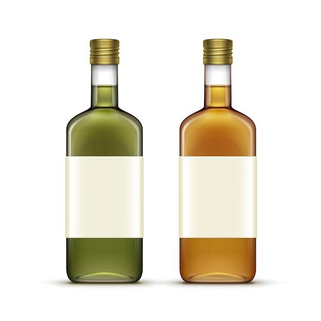 Набор алкогольных напитков напитки виски масло стеклянные бутылки Premium векторы