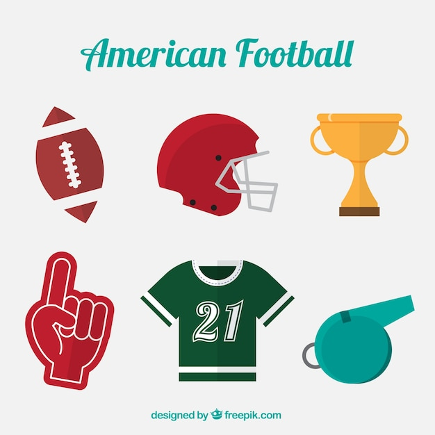 Set of american football objects in flat\ design
