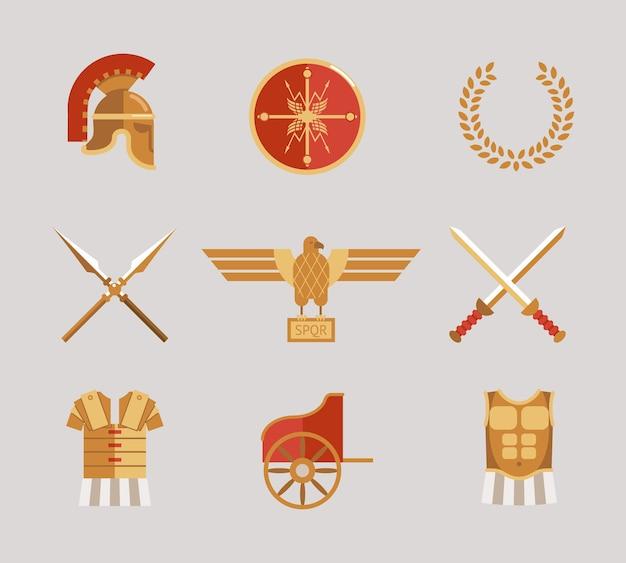 Набор векторных аксессуаров древнего воина со шлемом, копьями, мечами, венок, туника, нагрудник, щит и орел в красном и золотом Бесплатные векторы