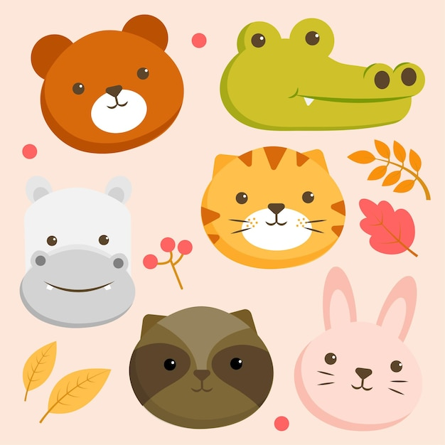 クマ、ワニ、カバ、トラ、ウサギの顔と動物のキャラクターのセット 無料ベクター