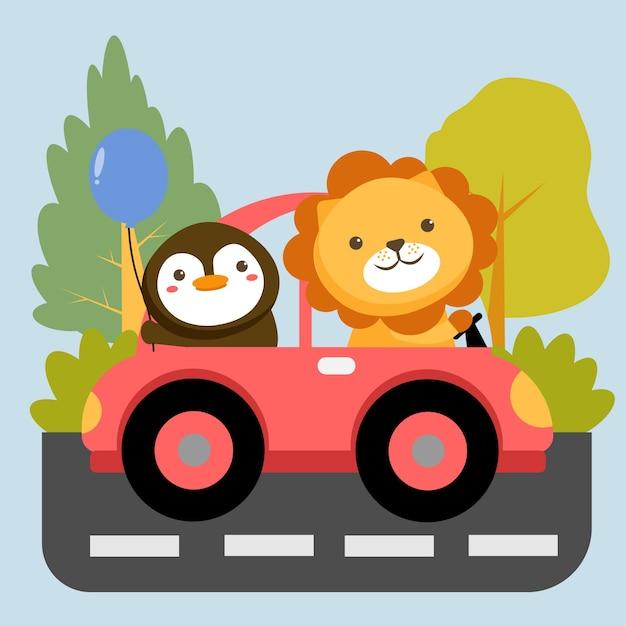 車のペンギンにライオンと動物のキャラクターのセット 無料ベクター