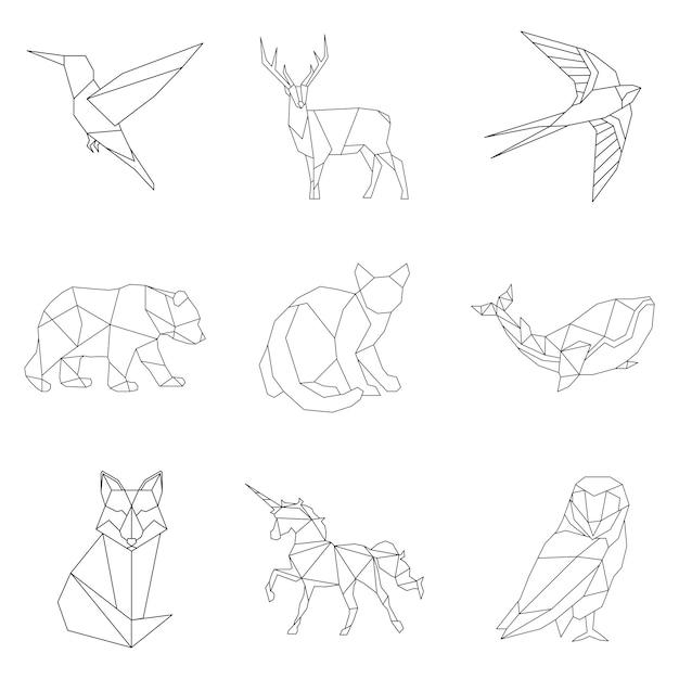 動物線形イラストのセット 無料ベクター