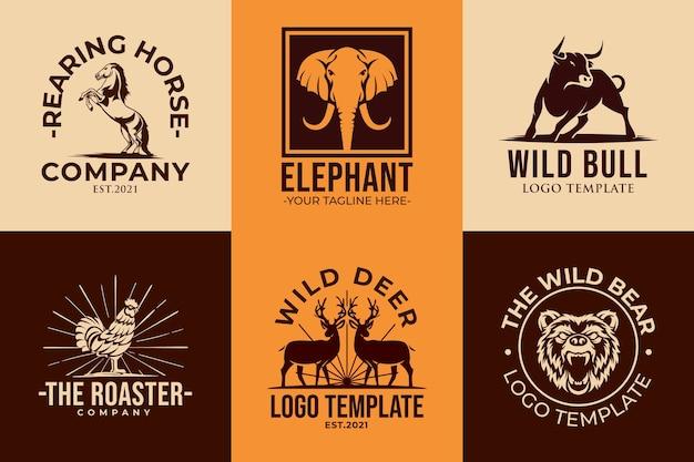Набор шаблонов иконок логотип животных Premium векторы