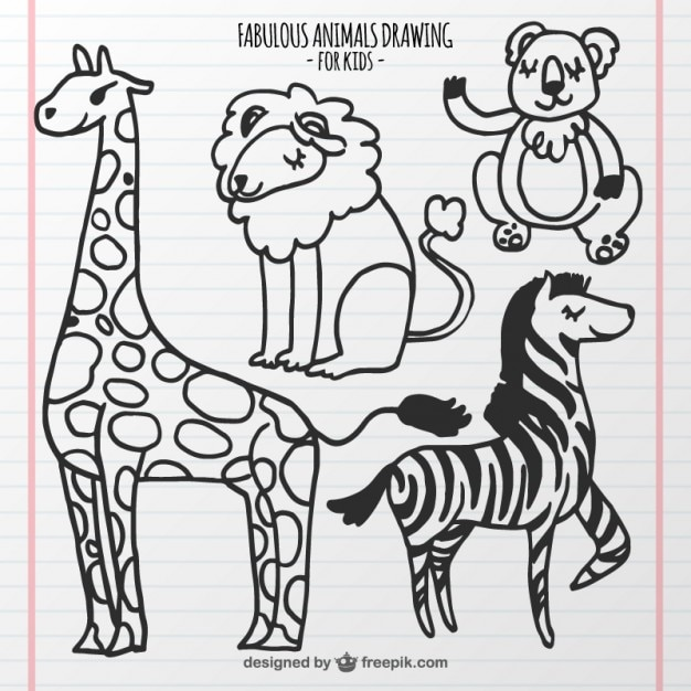 Set of animals drawing for kids premium vector