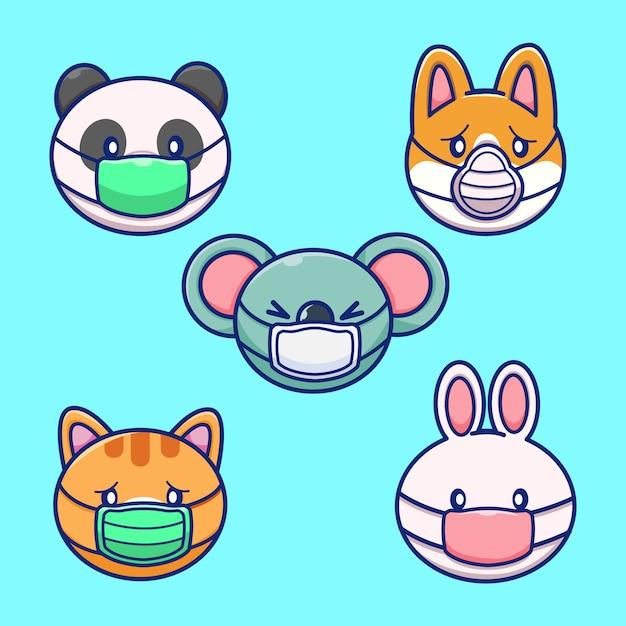 Набор животных носить маску иллюстрации. животный талисман Premium векторы