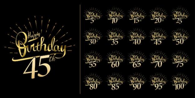 Набор дизайна эмблемы празднования годовщины и блестящего фейерверка Premium векторы