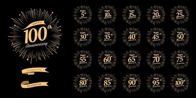 Набор дизайна эмблемы празднования годовщины с фейерверком и лентой Premium векторы