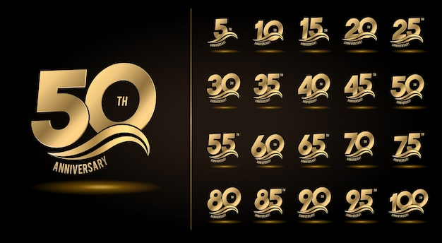 Набор дизайна эмблемы празднования годовщины с золотой волной Premium векторы